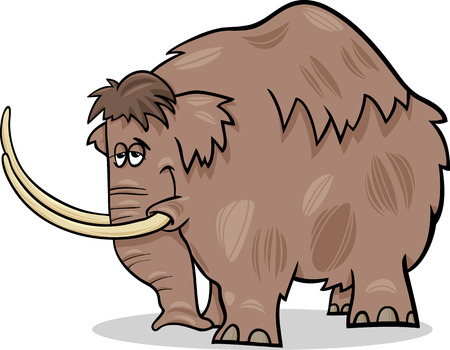 mammoth: Cartoon Illustration of Funny Prehistoric Mammoth or Mastodon