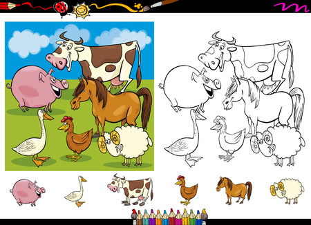 Cartoon Illustrations of Cute Farm Animals Characters Group for Coloring Book with Elements Set Vector