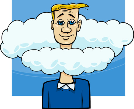 unrealistic: Cartoon Humor Concept Illustration of Head in the Clouds Saying or Proverb
