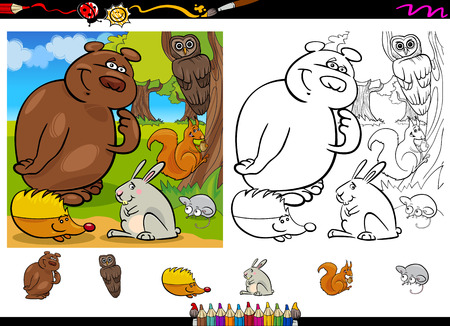Cartoon Illustration of Cute Forest Wild Animals Group for Coloring Book with Elements Set Vector