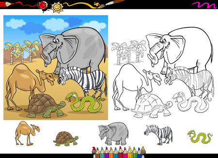 african animals: Cartoon Illustration of Funny Safari Wild African Animals Group for Coloring Book with Elements Set Illustration