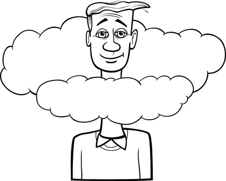 unrealistic: Black and White Cartoon Humor Concept Illustration of Head in the Clouds Saying or Proverb for Coloring Book