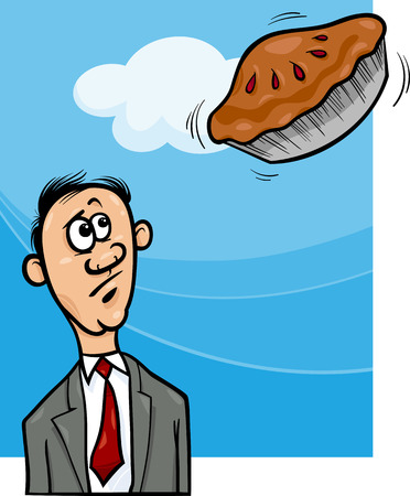 unrealistic: Cartoon Humor Concept Illustration of Pie in the Sky Saying or Proverb