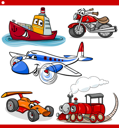 train cartoon: Cartoon Illustration of Cars and Trucks Vehicles and Machines Comic Characters Set for Children