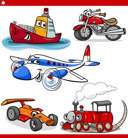 tren caricatura: Ejemplo de la historieta de Coches y Camiones Vehículos y Máquinas Comic Characters Set para niños