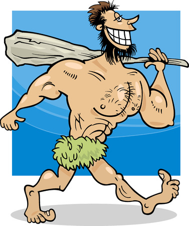 prehistory: Cartoon Illustration of Funny Prehistoric Caveman Character
