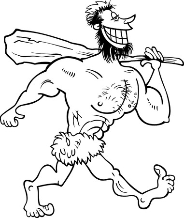 prehistory: Black and White Cartoon Illustration of Funny Prehistoric Caveman Character for Coloring Book Illustration