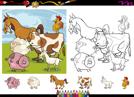 Cartoon Illustrations of Funny Farm Animals Characters Group for Coloring Book with Elements Set