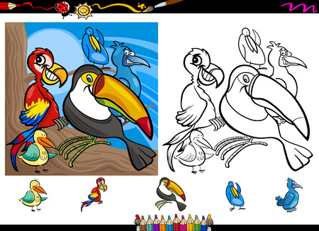 comic book character: Cartoon Illustrations of Funny Colorful Birds Characters Group for Coloring Book with Elements Set
