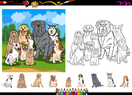 bull mastiff: Cartoon Illustrations of Funny Purebred Dogs Characters Group for Coloring Book with Elements Set