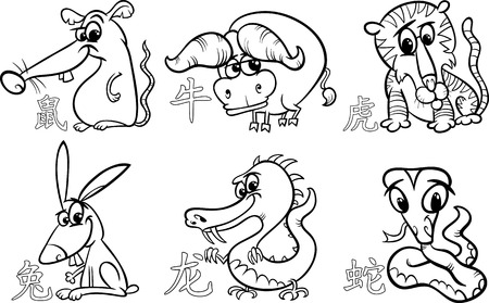 Black and White Cartoon Illustration of Six Chinese Zodiac Horoscope Signs Set Vector