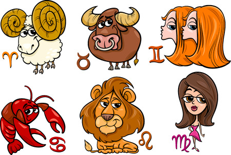 Cartoon Illustration of Horoscope Zodiac Signs Set Vector