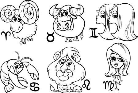 Black and White Cartoon Illustration of Horoscope Zodiac Signs Set Vector
