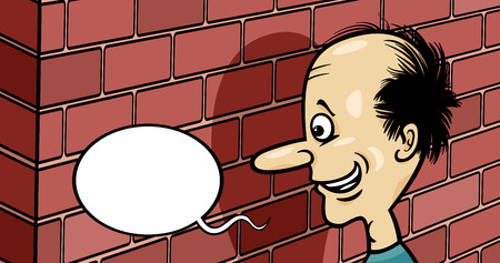 Cartoon Humor Concept Illustration of Talking to a Brick Wall Saying or Proverb Illustration