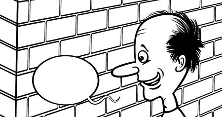 Black and White Cartoon Humor Concept Illustration of Talking to a Brick Wall Saying or Proverb for Coloring Book Vector