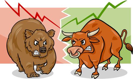 Cartoon ilustración del concepto de mercado bajista y Mercado de Bull Stock Tendencias
