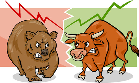 investing: Concept Cartoon Illustration of Bear Market and Bull Market Stock Trends