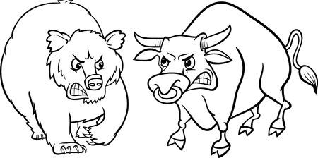 bear market: Black and White Concept Cartoon Illustration of Bear Market and Bull Market Stock Trends