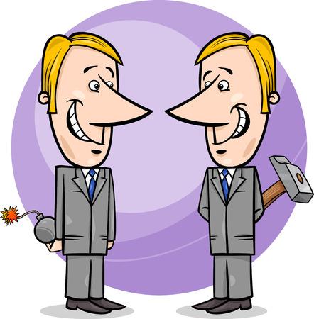 Concept Cartoon Illustration of Two Businessmen or Politicians Pretending Friendship