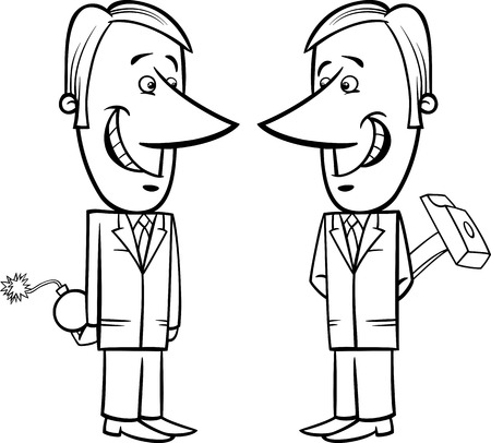 hypocritical: Black and White Concept Cartoon Illustration of Two Businessmen or Politicians Pretending Friendship