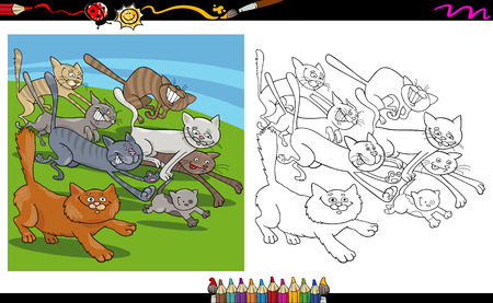 Cartoon Illustrations of Running Cats Characters Group for Coloring Book Vector