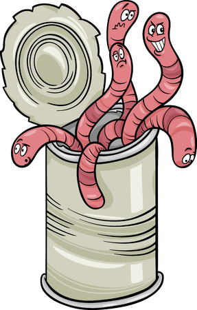 gusanos: Cartoon Humor ilustración del concepto de Can of Worms refrán o proverbio