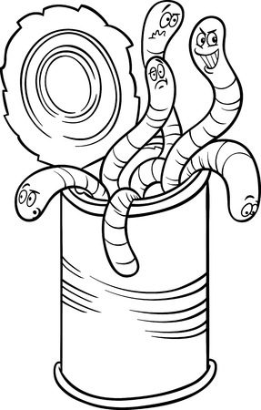 sayings: Black and White Cartoon Humor Concept Illustration of Can of Worms Saying or Proverb for Coloring Book