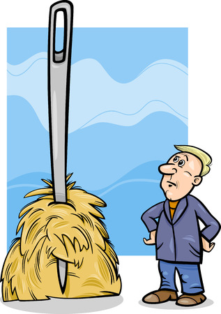Cartoon Humor Concept Illustration of Needle in a Haystack Saying or Proverb