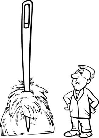 haystack: Black and White Cartoon Humor Concept Illustration of Needle in a Haystack Saying or Proverb for Coloring Book