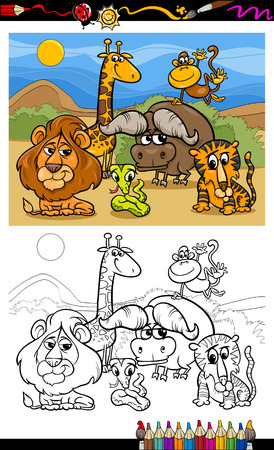 Coloring Book or Page Cartoon Illustration of Scene with Wild Safari Animals Characters for Children