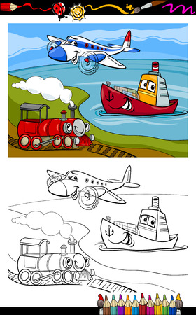 Coloring Book or Page Cartoon Illustration of Cute Plane and Train and Ship Transport Comic Characters for Children Vector