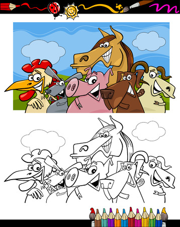 Coloring Book or Page Cartoon Illustration Set of Black and White Farm Animals Characters for Children Vector