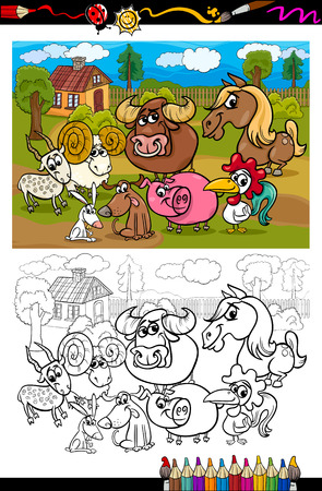 Coloring Book or Page Cartoon Illustration Set of Black and White Farm Animals Characters in Country Scene for Children Vector