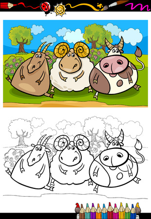 Coloring Book or Page Cartoon Illustration of Country Rural Scene with Farm Animals Goat and Bull and Ram Characters for Children Vector