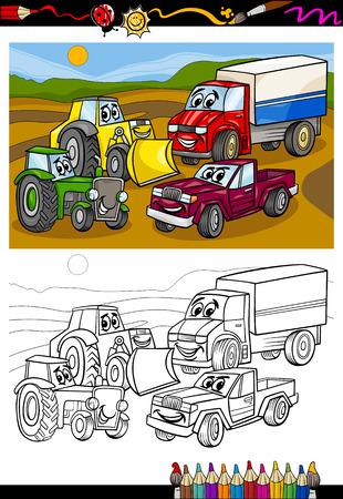 Coloring Book o Página Ejemplo de la historieta de los vehículos y de máquinas o Camiones Coches Comic Characters for Children