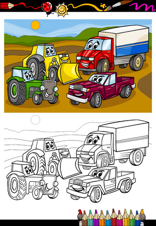 coloring book pages: Coloring Book or Page Cartoon Illustration of Vehicles and Machines or Trucks Cars Comic Characters for Children