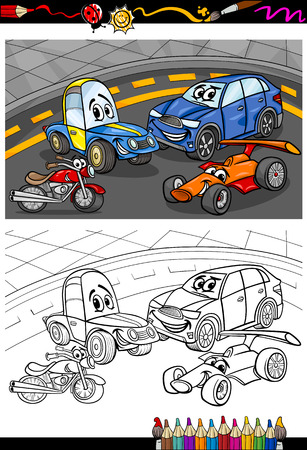Coloring Book or Page Cartoon Illustration of Funny Cars and Vehicles Comic Characters for Children Vector