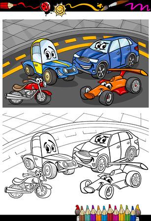 Cartoon Illustration Of Cars And Trucks Vehicles Machines
