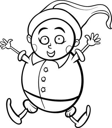 dwarf costume: Black and White Cartoon Illustration of Happy Gnome or Dwarf for Coloring Book Illustration