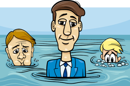 above head: Concept Cartoon Illustration of Head Above Water Business Saying or Metaphor