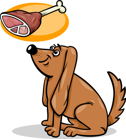 Cartoon Illustration of Cute Hungry Dog and Haunch with Bone