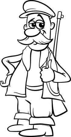 little red riding hood: Bianco e nero fumetto illustrazione di Hunter Personaggio da Cappuccetto Rosso Fiaba per Coloring Book Vettoriali
