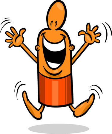 Cartoon Illustration of Happy or Excited Funny Guy Character