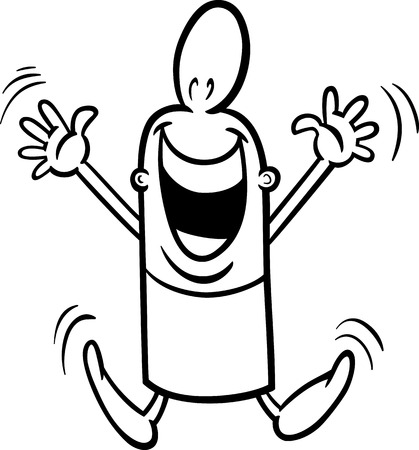 gleeful: Black and White Cartoon Illustration of Happy or Excited Funny Guy Character for Coloring Book