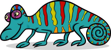 pretend: Cartoon Illustration of Funny Chameleon Reptile Animal