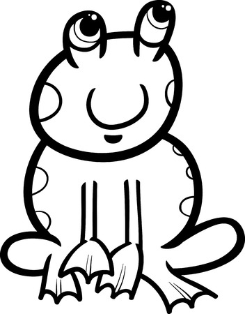 Black and White Cartoon Illustration of Funny Frog Amphibian Animal for Coloring Book Vector