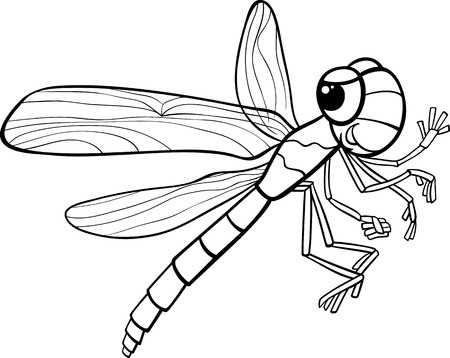 Black and White Cartoon Illustration of Funny Dragonfly Insect Character for Coloring Book Vector