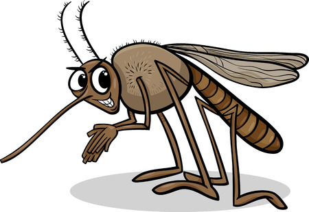 Cartoon Illustration of Funny Mosquito Insect Character