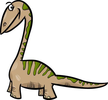 mesozoic: Cartoon Illustration of Apatosaurus Prehistoric Dinosaur Illustration