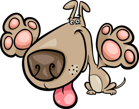 dog nose: Cartoon Illustration of Cute Playful Dog Illustration
